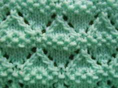 Moss Lace Diamonds Knitting Stitch on Craft Elf at… Lace Knitting Stitches, Crochet Stitches Patterns, Knitting Charts, Baby Knitting Patterns, Loom Knitting, Free Knitting, Stitch Patterns, Knit Dishcloth, Knit Or Crochet