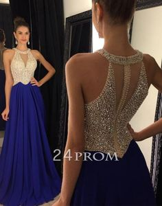 Cute blue chiffon sequin beaded long prom dress 2016 for teens, modest prom dress, unique chiffon plus size long evening dress