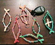 """""""I will make you fishers of men if you follow Me.""""  Fish key chains out of pony beads, pipe cleaners, and split rings."""