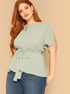 To find out about the Plus Slit Sleeve Solid Blouse at SHEIN, part of our latest Plus Size Blouses ready to shop online today! Curvy Fashion, Plus Size Fashion, Womens Fashion, Plus Size Blouses, Plus Size Tops, Plus Size Womens Clothing, Plus Size Outfits, Blouse Styles, Types Of Sleeves