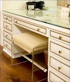 CLOSET VANITY Close up of built in vanity drawers in a dressing room by Todd Nickey and Amy Kehoe with nailhead trim Find Furniture, Furniture Makeover, Redoing Furniture, Furniture Projects, Closet Vanity, Closet Doors, Built In Vanity, Vanity Drawers, Nailhead Trim