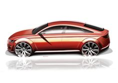 Photographs of the 2014 Audi TT Sportback Concept. An image gallery of the 2014 Audi TT Sportback Concept. Car Design Sketch, Car Sketch, Ford Mustang Fastback, Audi Tt, Car Drawings, Transportation Design, Automotive Design, Hot Cars, Concept Cars