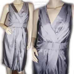 *SOLD* NEW BANANA REPUBLIC Womens GRAY GREY Sleeveless V-Neck SILK DRESS 14 XLARGE $1 SORRY THIS ITEM IS SOLD .. we sell more WOMENS TOPS and DRESSES at http://www.TropicalFeel.com