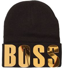 Ark Black Boss Beanie Hat ($15) ❤ liked on Polyvore featuring accessories, hats, beanies, headwear, black hat, black beanie, beanie hats and black beanie hat