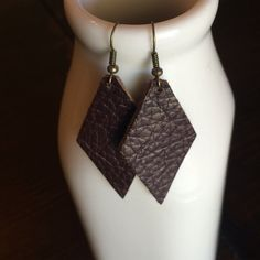 Leather Earrings -- Chocolate Brown                                                                                                                                                                                 More