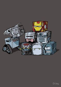 I see Tin Man, Iron-man, Robocop, C3-PO, i dont know, who I think is Marvin (Hitchhikers) and Bender