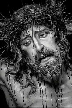 Jesus Tattoo, Christ Tattoo, Jesus Christ Drawing, Jesus Drawings, Pictures Of Jesus Christ, Foto Transfer, Jesus Painting, Jesus Face, Biblical Art