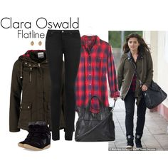 """Clara Oswald - Flatline"" by ansleyclaire on Polyvore >>>> I NEED THIS. I NEED A FLANNEL LIKE THAT AND AN ARMY JACKET"