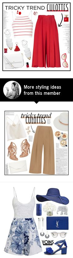 """""""Red Culottes"""" by ellyg91 on Polyvore featuring Victoria Beckham, Glamorous, Jenni Kayne, Tory Burch, Versace, Kate Spade, Chanel, Hermès, FOSSIL and TrickyTrend"""