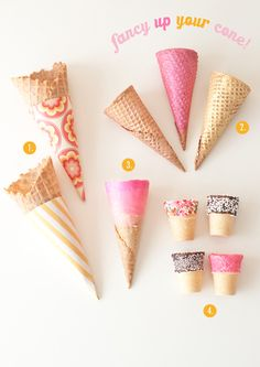 WE LOVE ice cream cones! There is something about ice cream cones that bring people together, make your inner child shine & put smiles on faces. Ice cream cones are pretty much magic. So why not try some of our ideas to fancy up your cone! Diy Ice Cream, Ice Cream Treats, Ice Cream Party, Frozen Desserts, Frozen Treats, Pavlova, Glace Diy, Creative Party Ideas, Creative Food