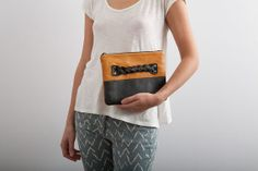 color blocking leather clutch