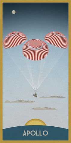 After travelling almost miles, the Apollo capsule floats under its three red and white parachutes before it splashes back to earth into the ocean. To purchase prints go to Imagekind Apollo Space Program, Retro, Apollo Missions, Disney Posters, Space And Astronomy, Space Travel, Space Exploration, Space Crafts, Science Art