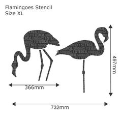 Flamingoes Stencil - Buy reusable wall stencils online at The Stencil Studio
