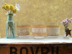 Wedding Votives Candle Tealight Holders 4 Vintage Lace by joblake