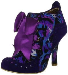 Irregular Choice Abigail's Party Purple Gold Suede Fabric New Womens Boots Shoes-7