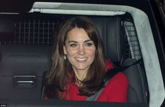 The Duchess of Cambridge re-emerged from Buckingham Palace after her festive feast at the Queen's annual Christmas dinner