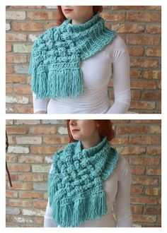 Crochet Scarf Design Woven Cowl Scarf Crochet Pattern - Crochet a gorgeous scarf with this Woven Cowl Scarf Crochet Pattern. It is very well written with pictures and detailed descriptions to guide you along. Crochet Scarves, Crochet Shawl, Crochet Clothes, Knit Crochet, Cute Crochet, Crochet Crafts, Knitting Patterns, Crochet Patterns, Free Knitting