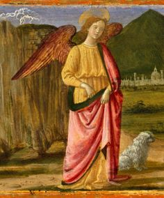 Davide Ghirlandaio (Italian 1452–1525) Tobias and the Angel (Archangel Raphael and Tobit), ca. 1479. [Detail] Tempera and gold on wood, 6 1/4 x 16 1/4 in. (15.9 x 41.3 cm). Metropolitan Museum of Art, New York.
