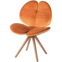 VG New Trend New Pansè Wood and Fabric Chair ($2,480) ❤ liked on Polyvore featuring home, furniture, chairs, orange, lumber furniture, orange chair, wooden furniture, upholstered chair and flower stem