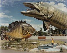 National Freshwater Fishing Hall of Fame, Hayward, Wisconsin photo by David Graham, 1984 The Fresh, Fresh Water, Hayward Wisconsin, Roadside Attractions, Wisconsin Attractions, Roadside Signs, Gone Fishing, Fishing Stuff, Fishing Lures