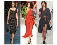 Polka Dots---  Feminine, sophisticated and evocative of 1950s elegance, for Spring/Summer 2014 polka dots returned to the runway. At Dolce & Gabbana they appeared in black and white, while at Moschino and Michael Kors they appeared in red and black – all aptly retro-inspired, especially given Moschino's special anniversary show.  /// Dolce & Gabbana, Moschino and Michael Kors.