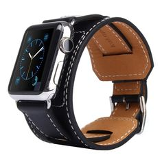 [USD16.61] [EUR15.25] [GBP11.97] Kakapi Bracelet Style Metal Buckle Cowhide Leather Watchband with Connector for Apple Watch 42mm(Black)