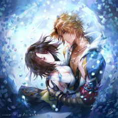 Image d'anime avec final fantasy final fantasy X square enix yuna tidus danhu (artist) long hair short hair blue eyes light erotic blonde hair breasts brown hair smile fringe green eyes bare shoulders japanese clothes traditional clothes cleavage Yuna Final Fantasy, Final Fantasy Artwork, Final Fantasy Characters, Fantasy Series, Animal Art Projects, Winter Art Projects, Cool Art Projects, Tidus And Yuna, African Art Paintings