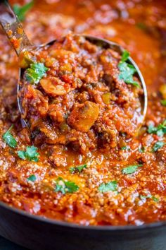 Delicious spaghetti sauce from scratch. Once you taste this fabulous recipe you'll agree - it's the only pasta sauce recipe you'll ever need! Perfect for serving with your favorite pasta. This meat sauce is also wonderful for making lasagna. Spaghetti Sauce From Scratch, Slow Cooker Spaghetti Sauce, Best Spaghetti Sauce, Spaghetti Recipes, Homemade Spaghetti Meat Sauce, Homemade Meat Sauce, Potluck Recipes Best, Pasta Sauce Recipes, Lasagna Recipes
