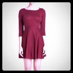 4X HPNWT French Connection Sweater Dress NWT.  Sydney Knits sweater dress in Burgundy.  Fit-n-flare, round neck, three quarter sleeves, pullover style.  Cotton/viscose/acrylic.  Dry clean.  French Connection runs very small.  I'm usually a size 4 or 6 depending on the dress.  This is a size 10 and fits me perfectly.  NO TRADES!  NO PAYPAL! French Connection Dresses Mini