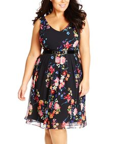 Look at this City Chic Black Floral Fancy Dress - Plus on #zulily today!