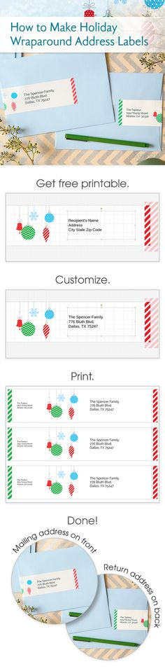 Dress up your Christmas and holiday cards with fun, festive wraparound labels you can personalize and print yourself using free printables and templates from Avery. This helpful step-by-step will show you how easy it is to personalize and print these labels for a fun twist on your usual Christmas card.