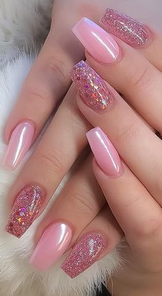 8 Fantastic Pink Nail Designs Glitter Color Combos 2019 : Have a look! Nails 8 Fantastic Pink Nail Designs Glitter Color Combos 2019 : Have a look! Nail Design Glitter, Glitter Nail Art, Nails Design, Acrylic Nails For Summer Glitter, Glitter Acrylics, Purple Glitter, Pink Acrylic Nails, Pink Nail Polish, Nail Nail