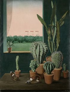 """Exhibition: 'New Objectivity: Modern German Art in the Weimar Republic, 1919-1933' at the Los Angeles County Museum of Art (LACMA). """"This is a mad, dangerous, exciting world in which these artists lived."""" http://artblart.com/2016/01/14/exhibition-new-objectivity-at-lacma/ Art work: George Scholz (1890-1945) 'Cacti and Semaphore (Kakteen und Semaphore)' 1923"""