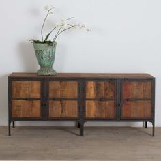 Rustic-Handcrafted-Reclaimed-Wood-Iron-Framed-Storage-Buffet-Cabinet-India