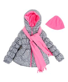 This Gray & Pink Leopard Puffer Coat Set - Toddler & Girls is perfect! #zulilyfinds