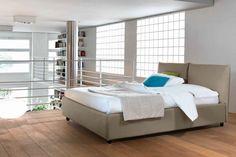 Rovere Mobili - Pat Bridge, imbracat in piele ecologica gri sau bej Bed Curtains, Noctis, Double Beds, The Originals, Bedroom, Interior, Furniture, Home Decor, Bridge