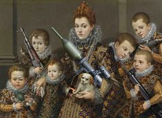 Lavinia Fontana, Portrait der Bianca Degli Utili Maselli und ihren Kindern (1603) – Uzi, Kalaschnikow AK-47, M16, Handgranate, Dynamit Nobel Panzerfaust 3, Gerber Survivalmesser