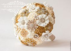 Items similar to Brooch Bouquet. Gold Ivory Fabric Bouquet, Unique Wedding Bridal Bouquet on Etsy Fabric Bouquet, Hand Bouquet, Diy Bouquet, Wedding Brooch Bouquets, Floral Bouquets, Bridesmaid Bouquet, Wedding Flower Arrangements, Wedding Flowers, Wedding Flower Inspiration