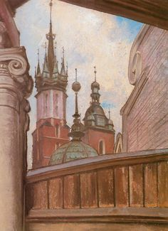 "Stanisław Wyspiański (Polish ""Two towers of St. Mary's Church in Cracow"", pastel, x cm, National Museum, Cracow. Art Nouveau, Art Deco, Victorian Life, Country Scenes, Catholic Art, Vanitas, National Museum, Van Gogh, Land Scape"