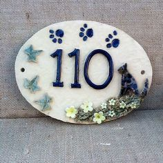 House number sign, ceramic house plaque, housewarming or gift for cat lover, x 7 inches. - Cat house number plaque ceramic numbers cat lover's by Sallyamoss - House Plaques, House Number Plaque, Cat Lover Gifts, Cat Gifts, Cat Lovers, Stoneware Clay, Ceramic Clay, Ceramic House Numbers, Ceramic Houses