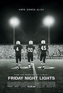Friday Night Lights is a 2004 sports drama film, directed by Peter Berg, which documents the coach and players of a high school football team and the Texas city of Odessa that supports and is obsessed with them. The book on which it was based, Friday Night Lights: A Town, a Team, and a Dream by H. G. Bissinger, follows the story of the 1988 Permian High School Panthers football team as they made a run towards the state championship.