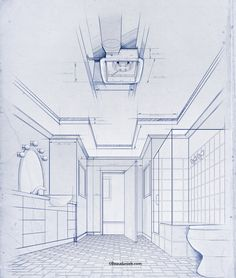 Bathroom, blueprint style architectural drawing.