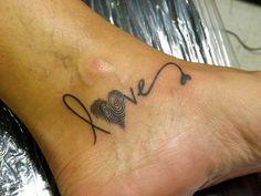 Tatouage Love + empreinte digitale