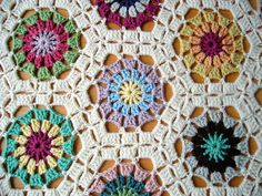 hexagon baby blanket pattern.  Unique!