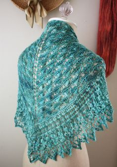 """soleil"" textured and lace shawl knitting pattern - so pretty in hand dyed fingering weight yarn!  $8.00"