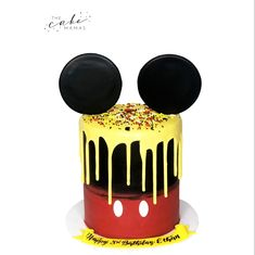 Mickey mouse smash cake for a first birthday. Call or email to order your celebration cake today. Mickey Mouse Smash Cakes, Mickey Mouse Birthday Cake, Mickey Mouse Desserts, Disney Themed Cakes, Cakes Today, Celebration Cakes, Custom Cakes, Cake Smash, Cake Designs