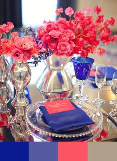Hot pink and royal blue wedding flowers