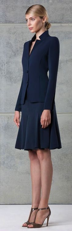 navy skirt suit