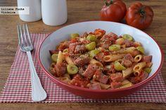 Receta de pasta con atún fresco en salsa de tomate picante. Con fotos del paso a paso, consejos y sugerencias de degustación. Recetas saludables ...