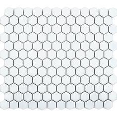 White Hexagon Gloss Tiles Bijou Hexagonal Mosaic Tiles 335x292x4mm Tiles, £2.95 per sheet, 10.25 sheets per sq m, so £30.24 per sq m